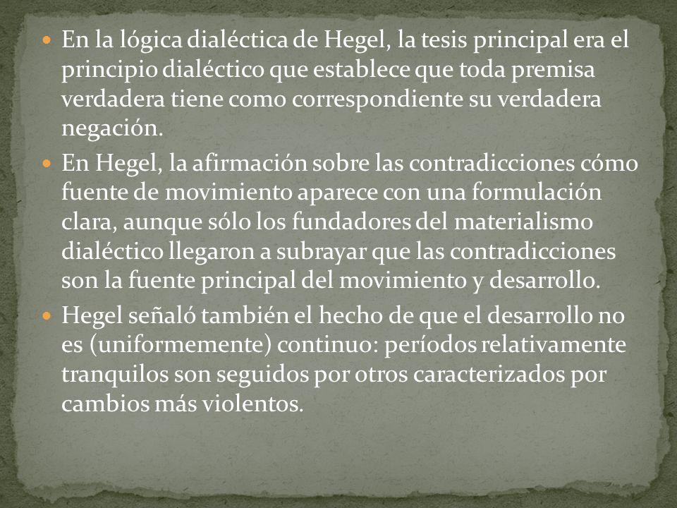 En la lógica dialéctica de Hegel, la tesis principal era el principio dialéctico que establece que toda premisa verdadera tiene como correspondiente su verdadera negación.