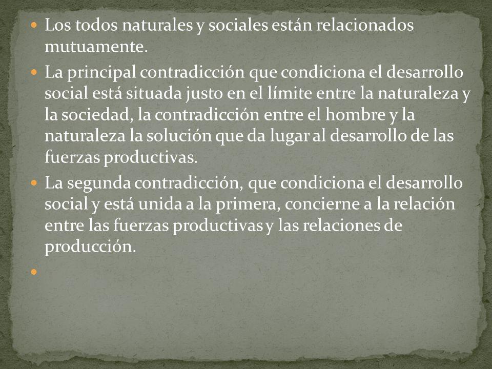Los todos naturales y sociales están relacionados mutuamente.