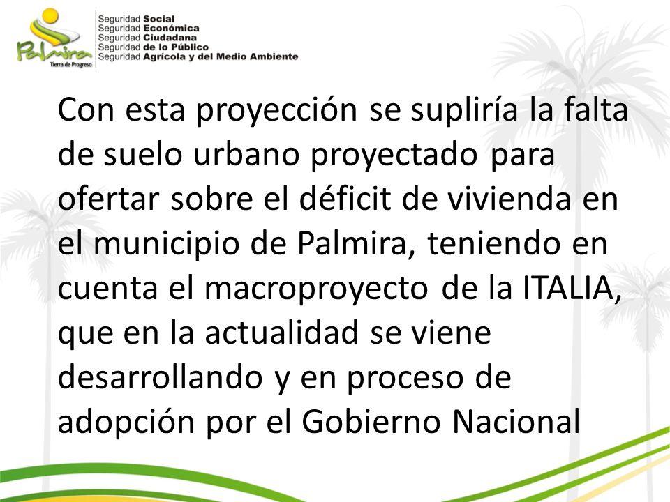 Con esta proyección se supliría la falta de suelo urbano proyectado para ofertar sobre el déficit de vivienda en el municipio de Palmira, teniendo en cuenta el macroproyecto de la ITALIA, que en la actualidad se viene desarrollando y en proceso de adopción por el Gobierno Nacional
