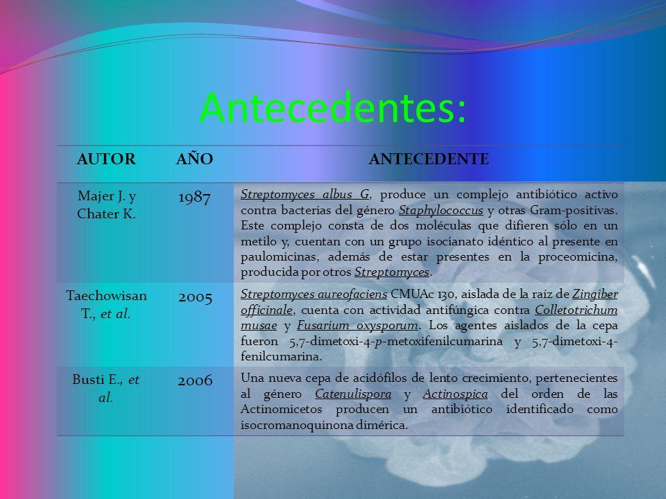 Antecedentes: AUTOR AÑO ANTECEDENTE 1987 2005 2006