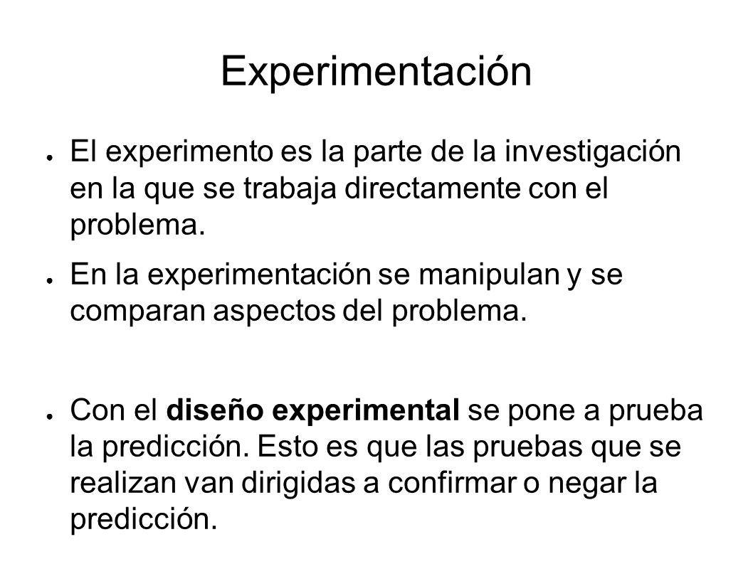Experimentación El experimento es la parte de la investigación en la que se trabaja directamente con el problema.