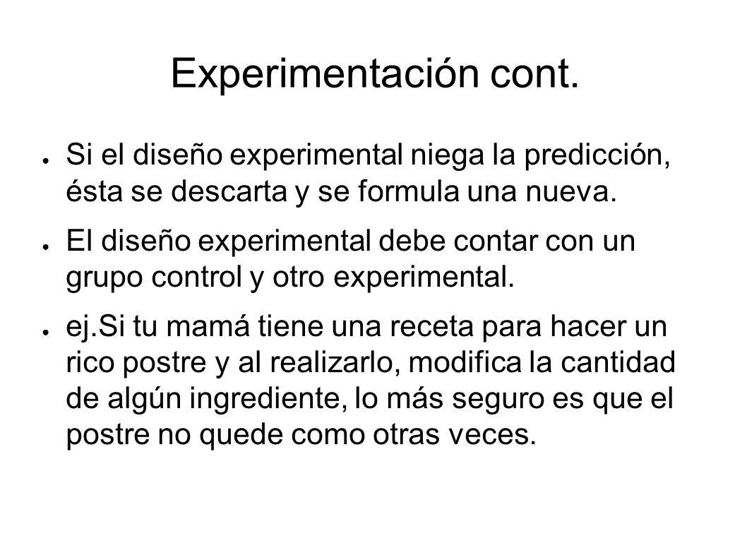 Experimentación cont. Si el diseño experimental niega la predicción, ésta se descarta y se formula una nueva.