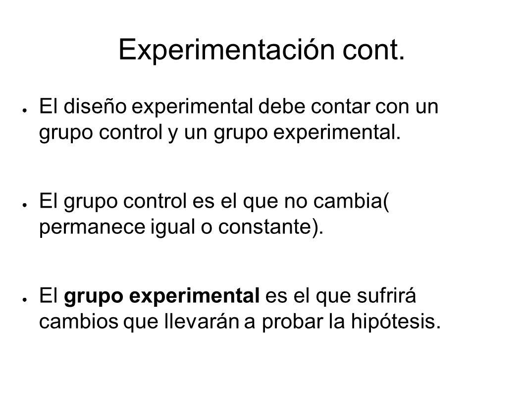 Experimentación cont. El diseño experimental debe contar con un grupo control y un grupo experimental.