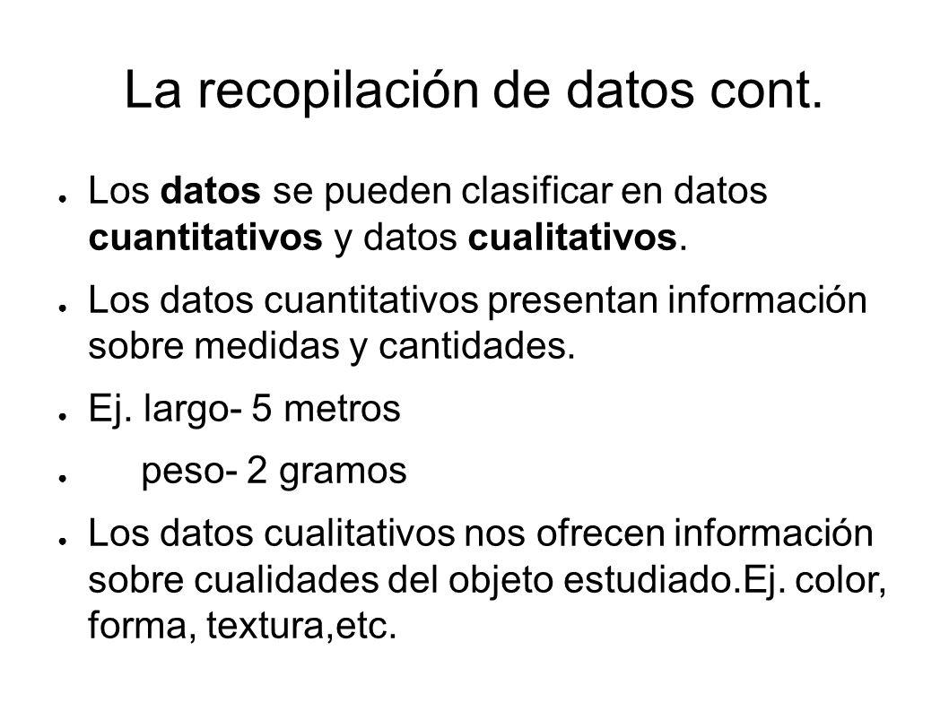 La recopilación de datos cont.