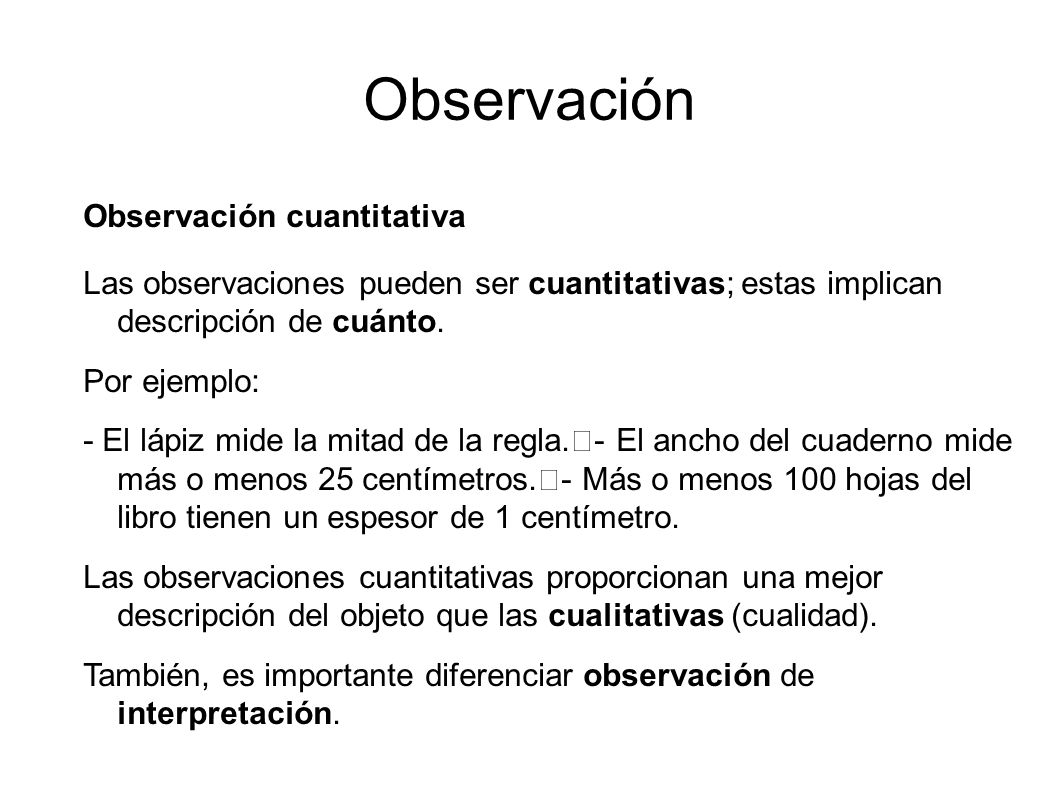 Observación Observación cuantitativa