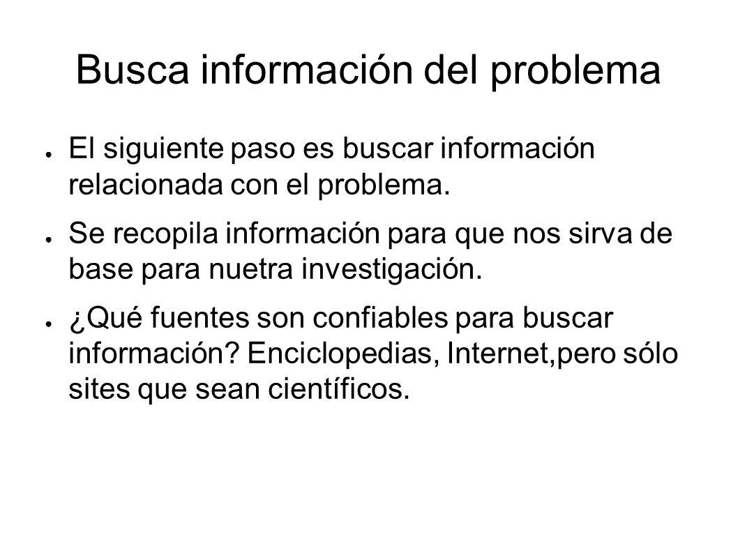 Busca información del problema