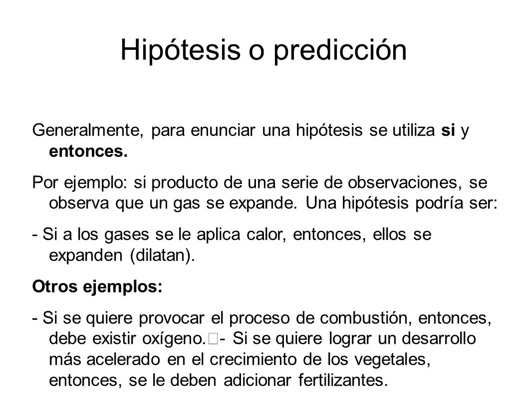 Hipótesis o predicción