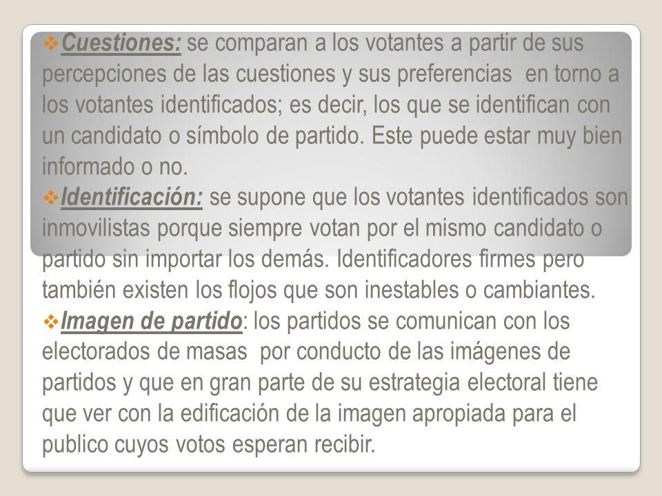 Cuestiones: se comparan a los votantes a partir de sus percepciones de las cuestiones y sus preferencias en torno a los votantes identificados; es decir, los que se identifican con un candidato o símbolo de partido. Este puede estar muy bien informado o no.