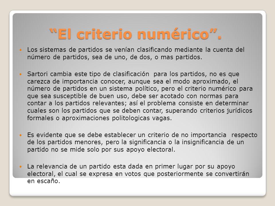 El criterio numérico .
