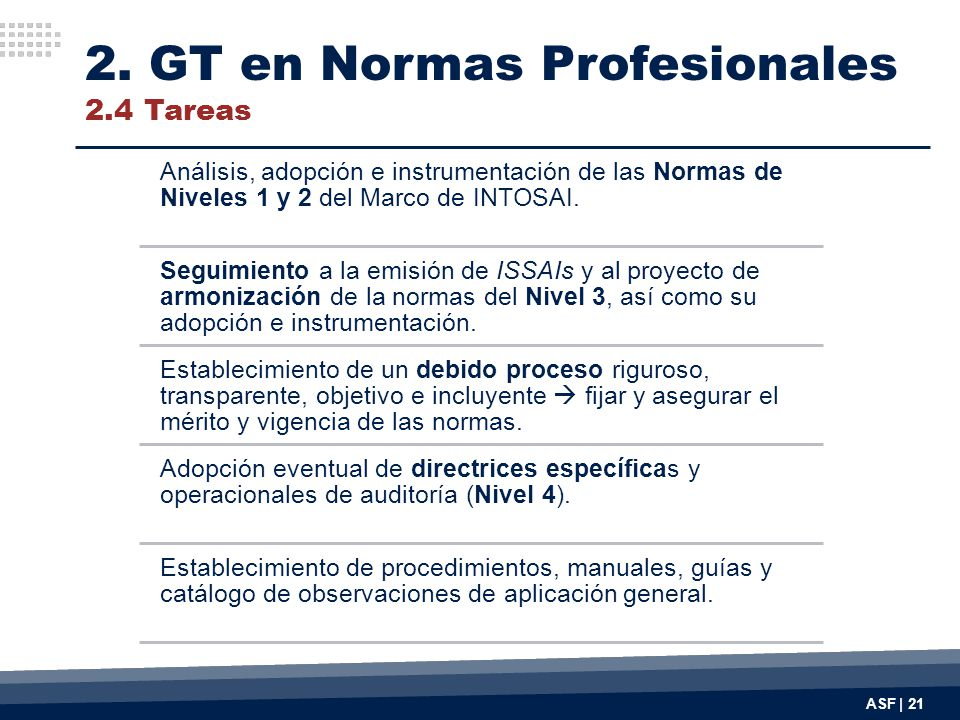 2. GT en Normas Profesionales 2.4 Tareas