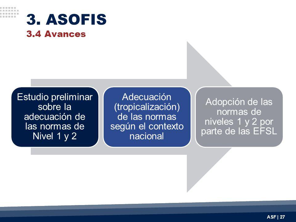 3. ASOFIS 3.4 Avances Estudio preliminar sobre la adecuación de las normas de Nivel 1 y 2.