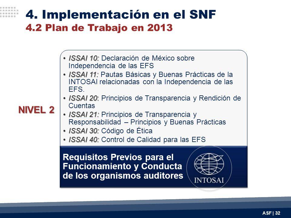 4. Implementación en el SNF 4.2 Plan de Trabajo en 2013