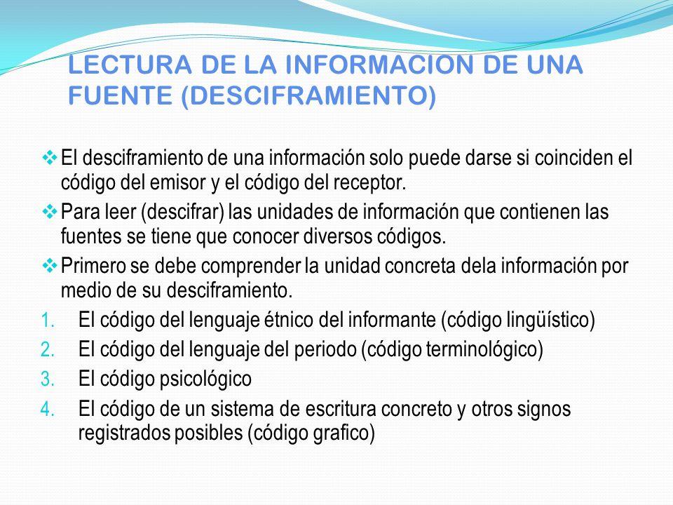 LECTURA DE LA INFORMACION DE UNA FUENTE (DESCIFRAMIENTO)