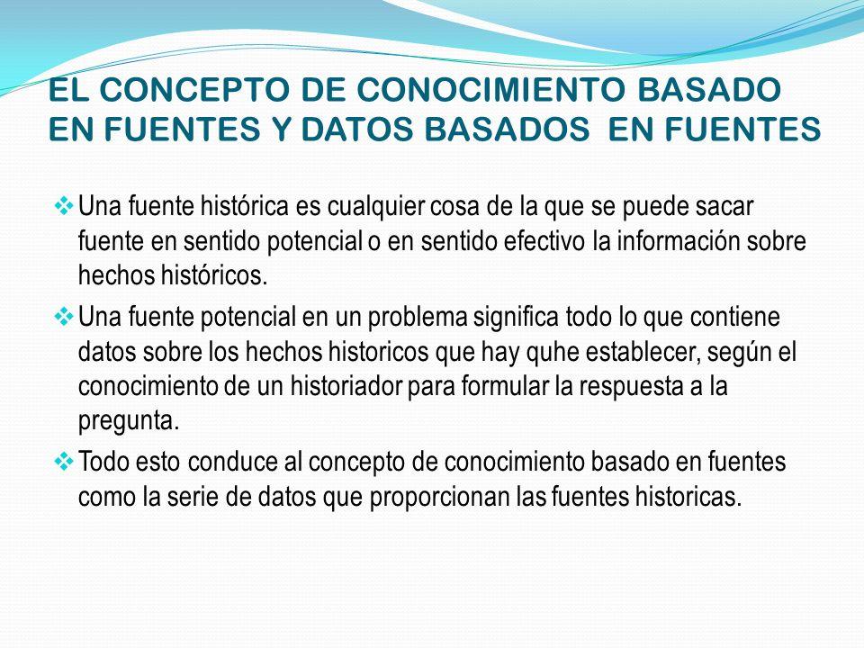 EL CONCEPTO DE CONOCIMIENTO BASADO EN FUENTES Y DATOS BASADOS EN FUENTES