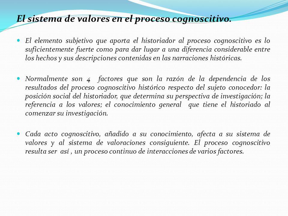 El sistema de valores en el proceso cognoscitivo.