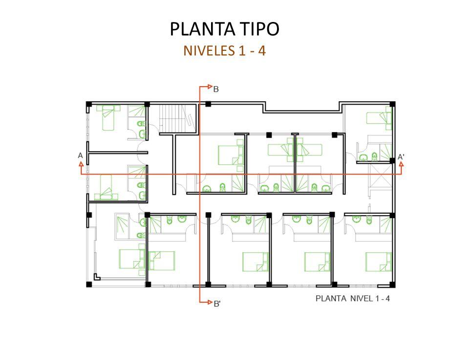 PLANTA TIPO NIVELES 1 - 4