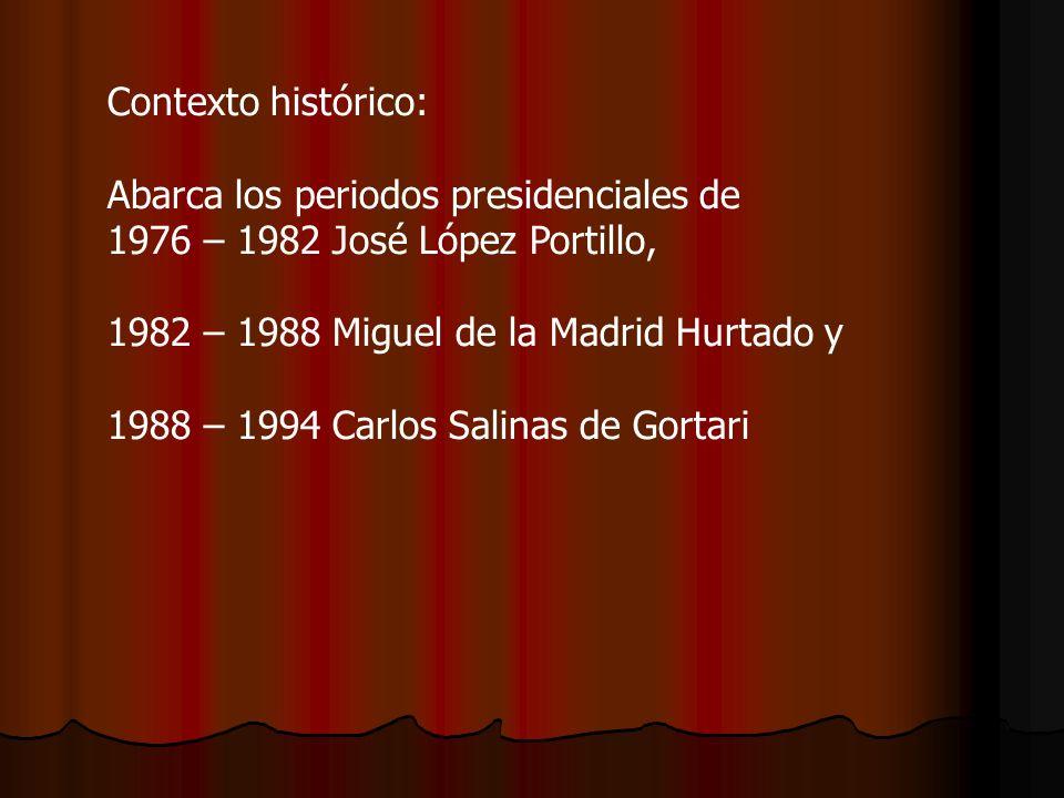 Contexto histórico: Abarca los periodos presidenciales de. 1976 – 1982 José López Portillo, 1982 – 1988 Miguel de la Madrid Hurtado y.