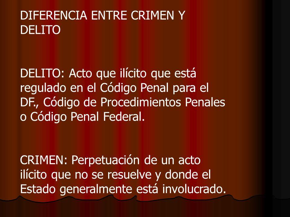 DIFERENCIA ENTRE CRIMEN Y DELITO