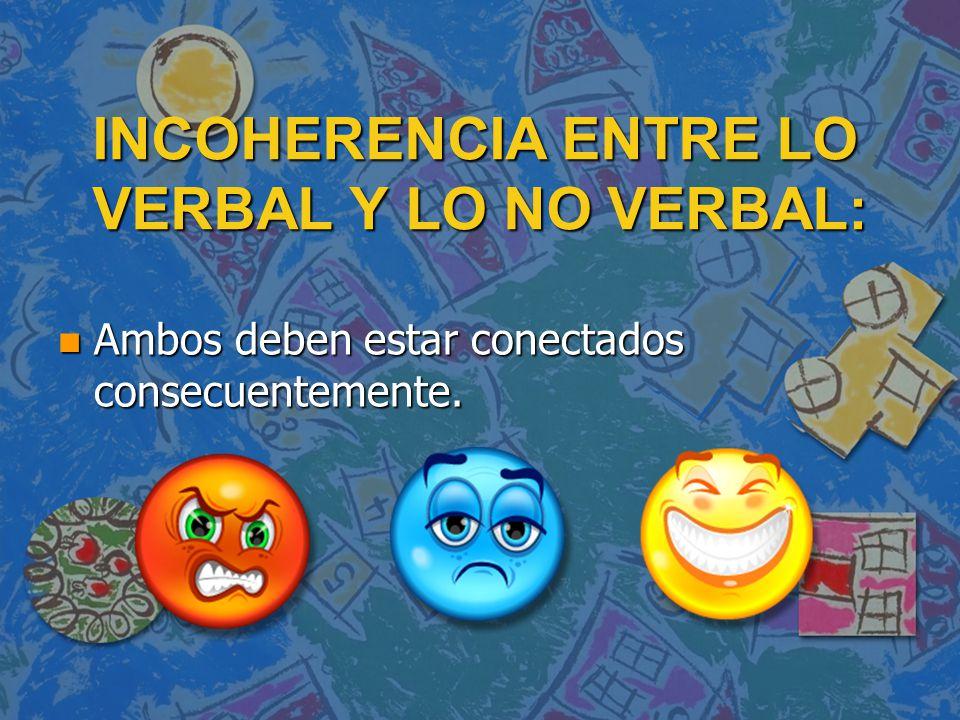 INCOHERENCIA ENTRE LO VERBAL Y LO NO VERBAL:
