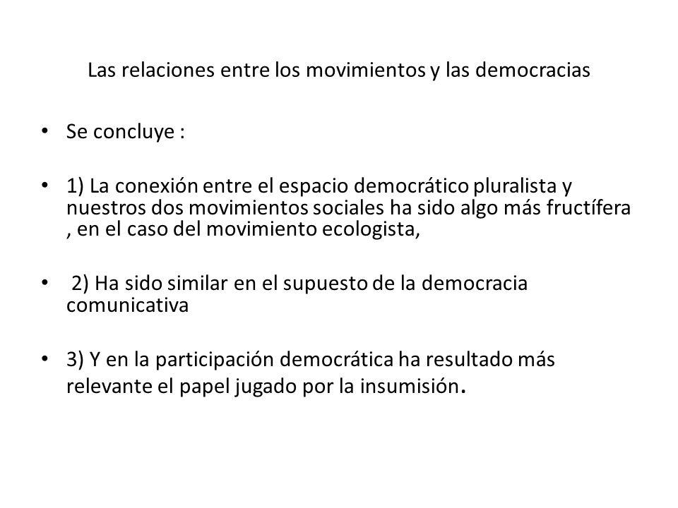 Las relaciones entre los movimientos y las democracias