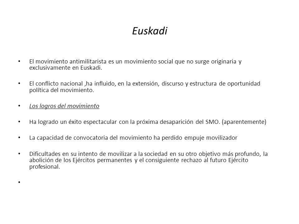Euskadi El movimiento antimilitarista es un movimiento social que no surge originaria y exclusivamente en Euskadi.