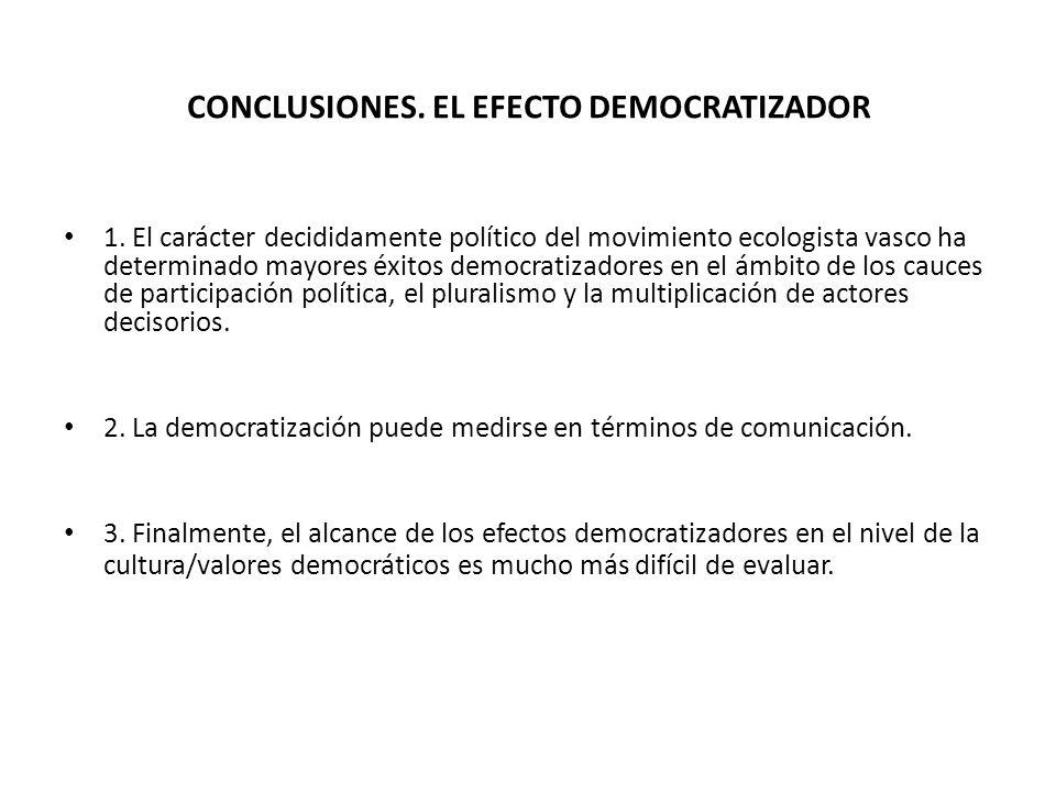 CONCLUSIONES. EL EFECTO DEMOCRATIZADOR