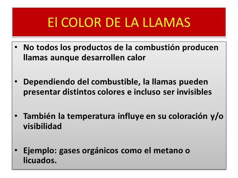 El COLOR DE LA LLAMAS No todos los productos de la combustión producen llamas aunque desarrollen calor.