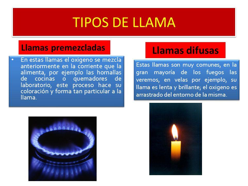 TIPOS DE LLAMA Llamas difusas Llamas premezcladas