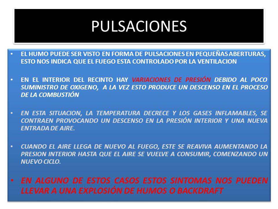 PULSACIONES EL HUMO PUEDE SER VISTO EN FORMA DE PULSACIONES EN PEQUEÑAS ABERTURAS, ESTO NOS INDICA QUE EL FUEGO ESTA CONTROLADO POR LA VENTILACION.