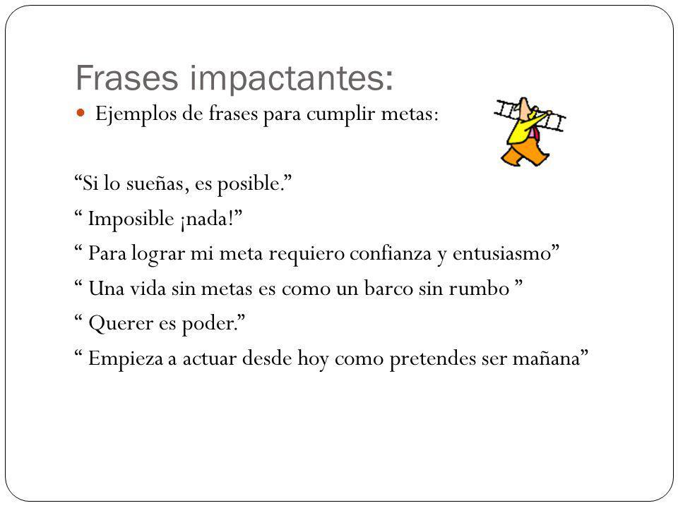 Frases impactantes: Ejemplos de frases para cumplir metas: