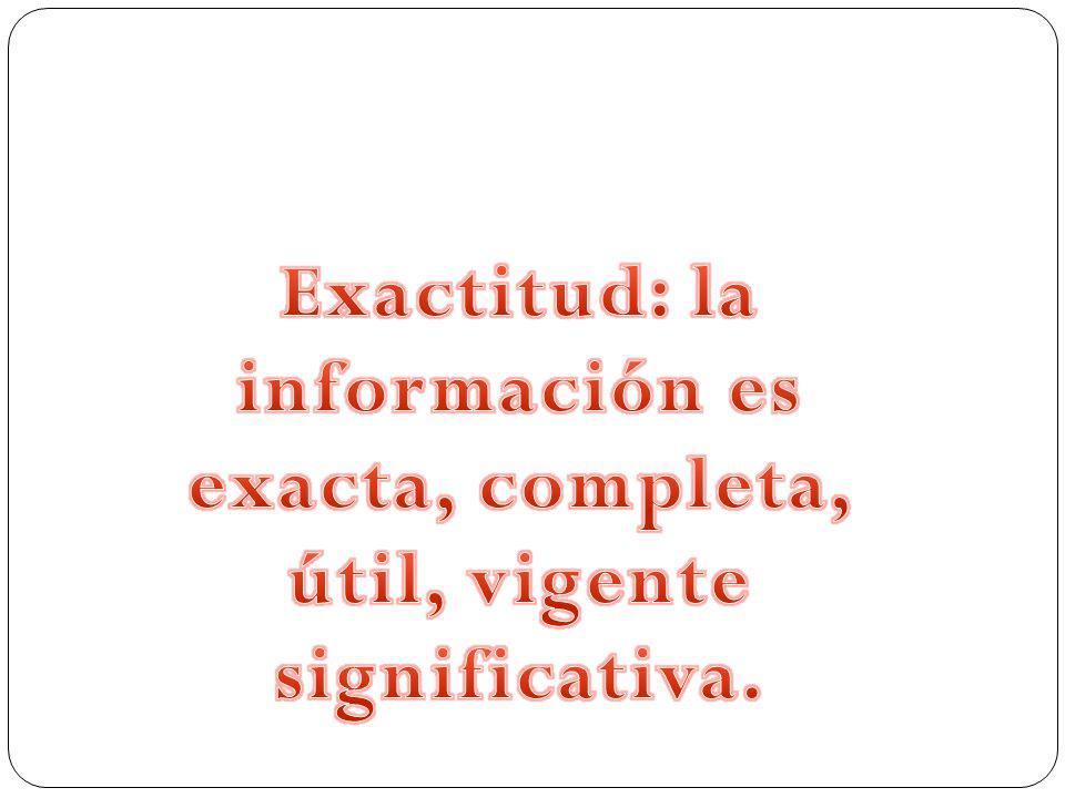 Exactitud: la información es exacta, completa, útil, vigente significativa.