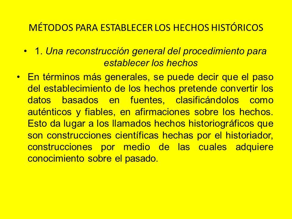 MÉTODOS PARA ESTABLECER LOS HECHOS HISTÓRICOS