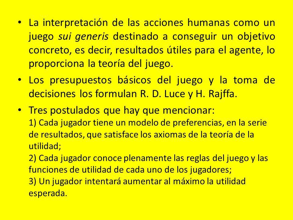 La interpretación de las acciones humanas como un juego sui generis destinado a conseguir un objetivo concreto, es decir, resultados útiles para el agente, lo proporciona la teoría del juego.