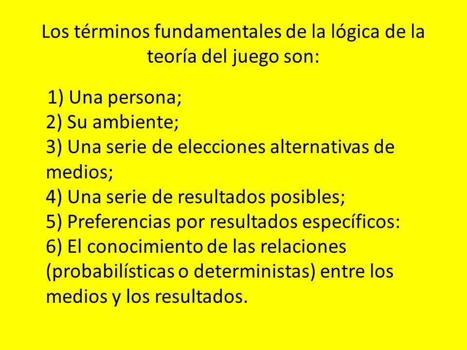 Los términos fundamentales de la lógica de la teoría del juego son: