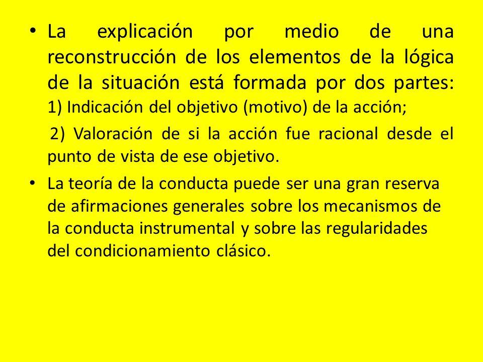 La explicación por medio de una reconstrucción de los elementos de la lógica de la situación está formada por dos partes: 1) Indicación del objetivo (motivo) de la acción;
