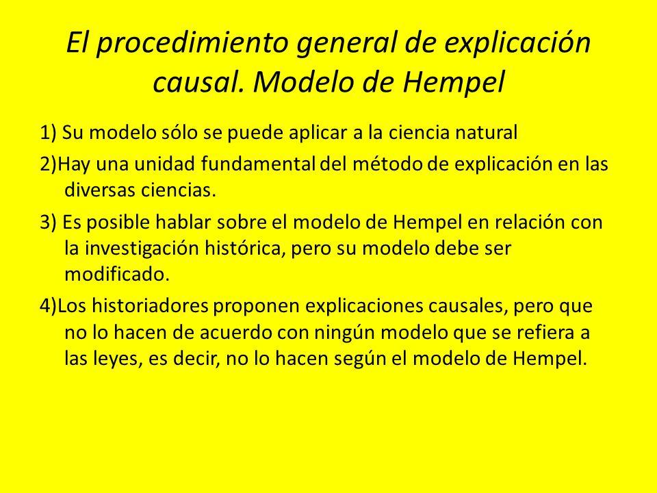 El procedimiento general de explicación causal. Modelo de Hempel