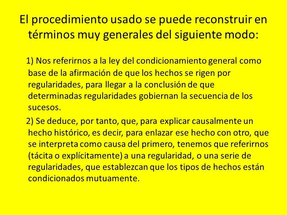 El procedimiento usado se puede reconstruir en términos muy generales del siguiente modo: