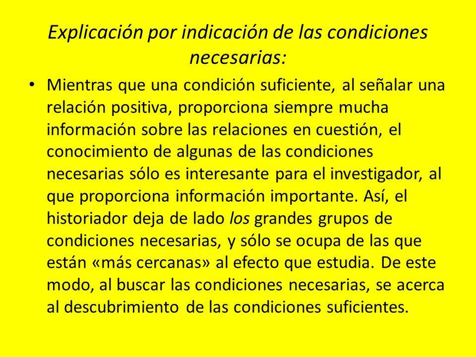 Explicación por indicación de las condiciones necesarias: