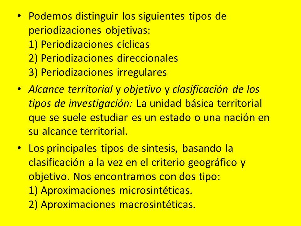 Podemos distinguir los siguientes tipos de periodizaciones objetivas: 1) Periodizaciones cíclicas 2) Periodizaciones direccionales 3) Periodizaciones irregulares