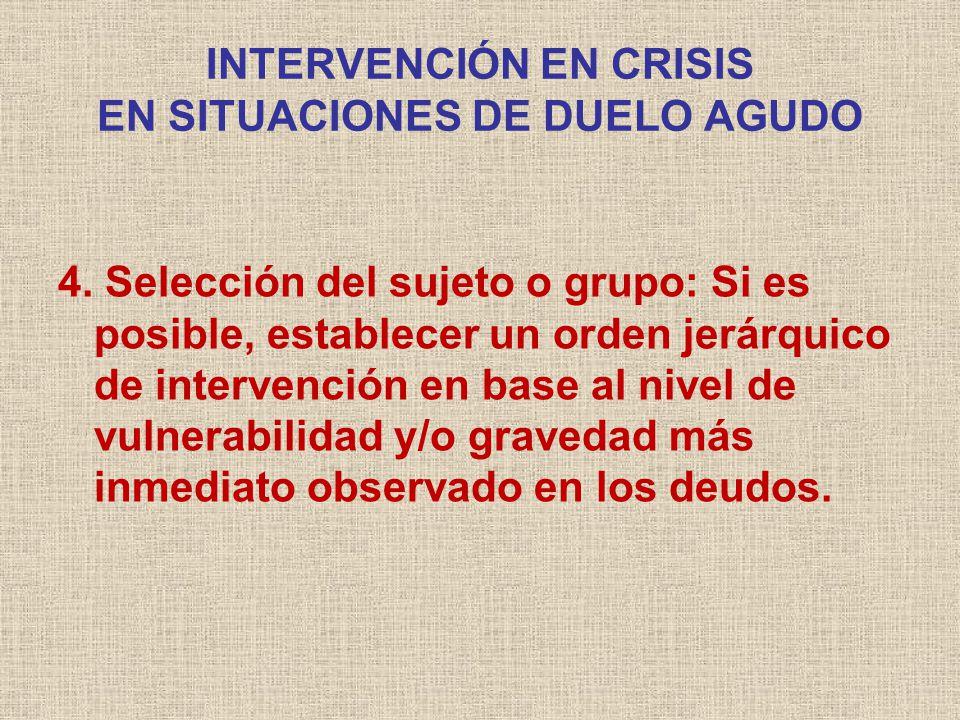 INTERVENCIÓN EN CRISIS EN SITUACIONES DE DUELO AGUDO