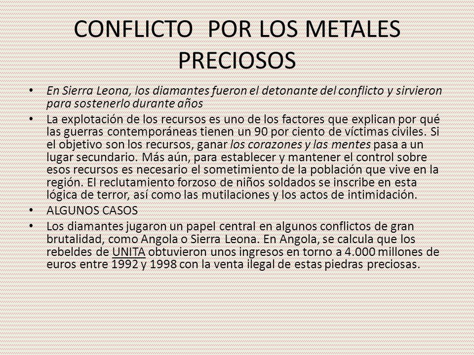 CONFLICTO POR LOS METALES PRECIOSOS