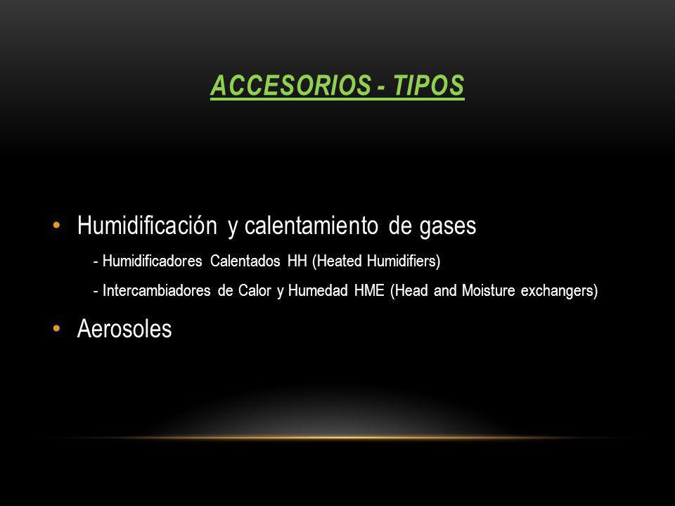 accesorios - tipos Humidificación y calentamiento de gases Aerosoles