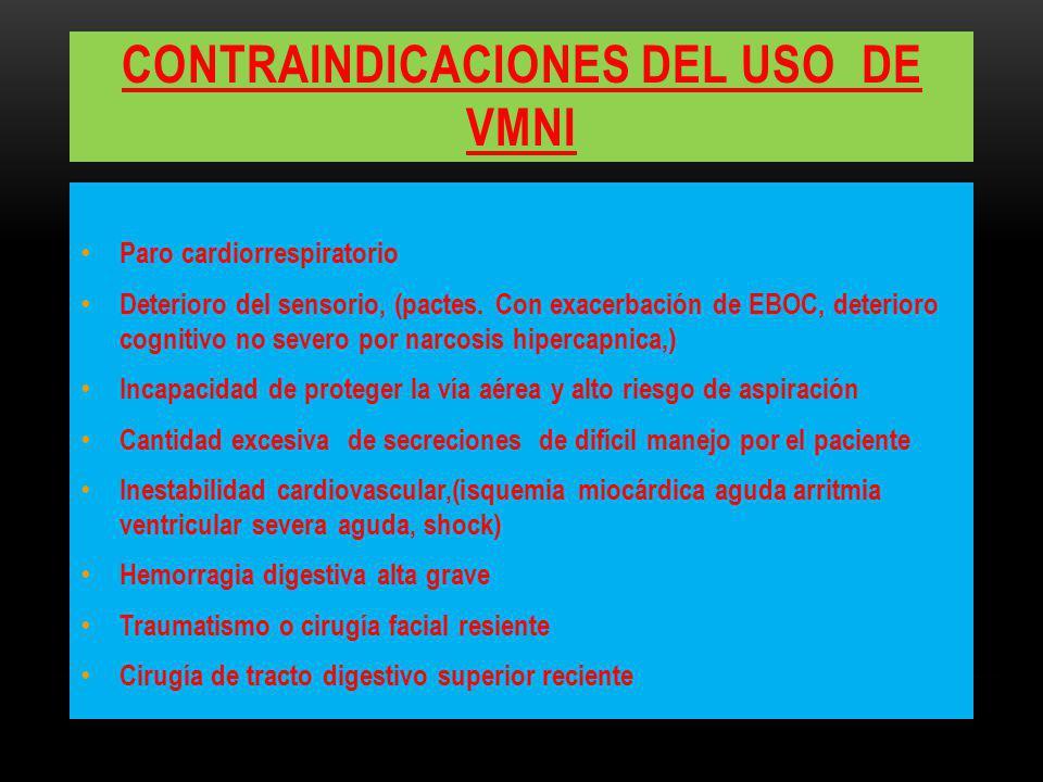 Contraindicaciones del uso de vmni