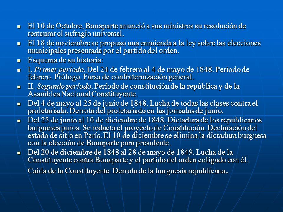 El 10 de Octubre, Bonaparte anunció a sus ministros su resolución de restaurar el sufragio universal.