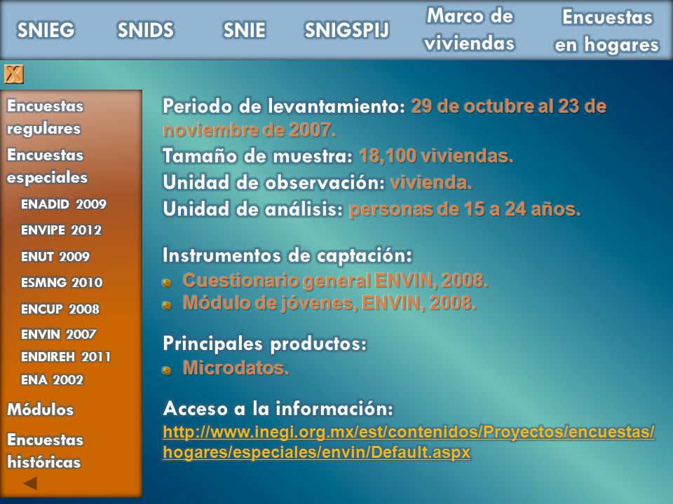 Periodo de levantamiento: 29 de octubre al 23 de noviembre de 2007.