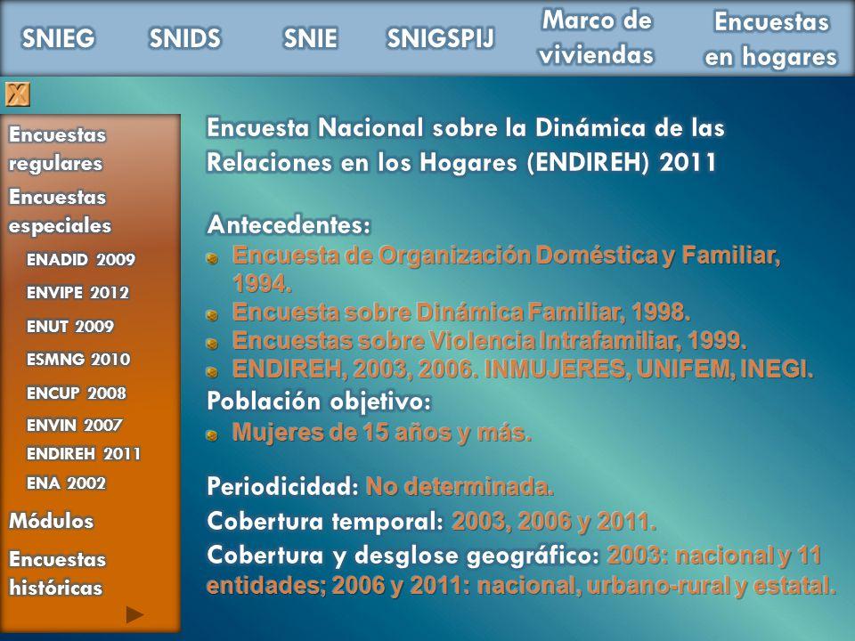 Periodicidad: No determinada. Cobertura temporal: 2003, 2006 y 2011.