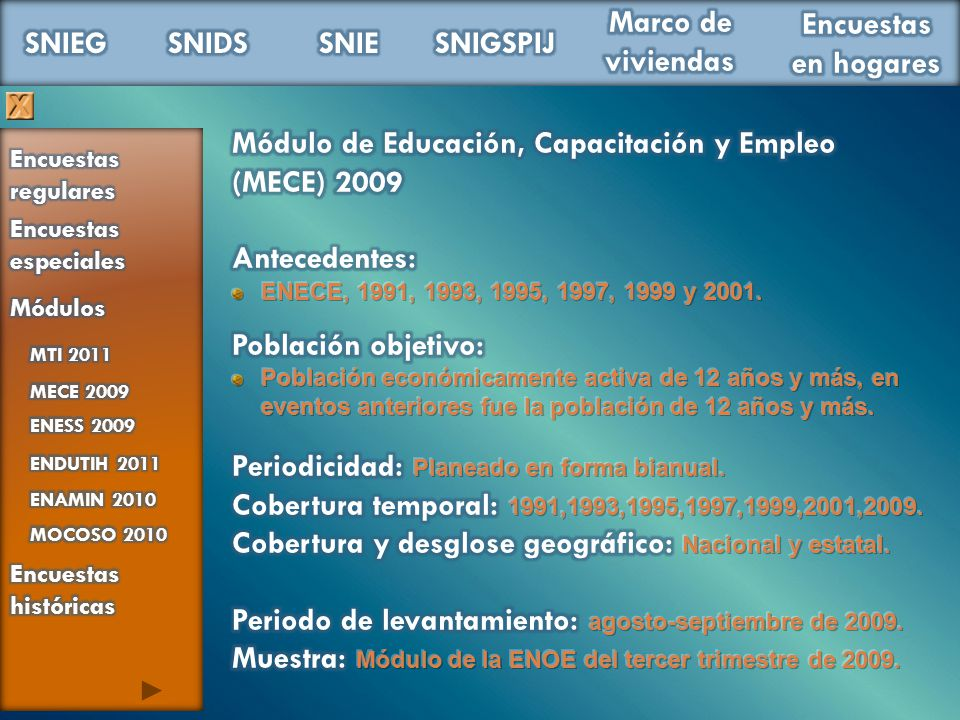 Módulo de Educación, Capacitación y Empleo (MECE) 2009