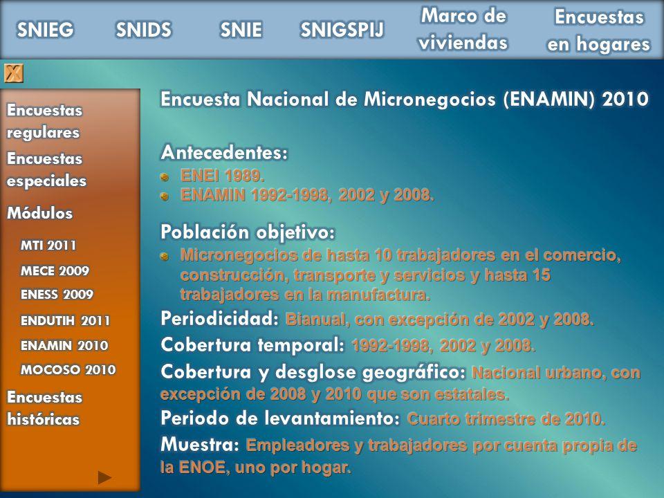 Encuesta Nacional de Micronegocios (ENAMIN) 2010 Antecedentes: