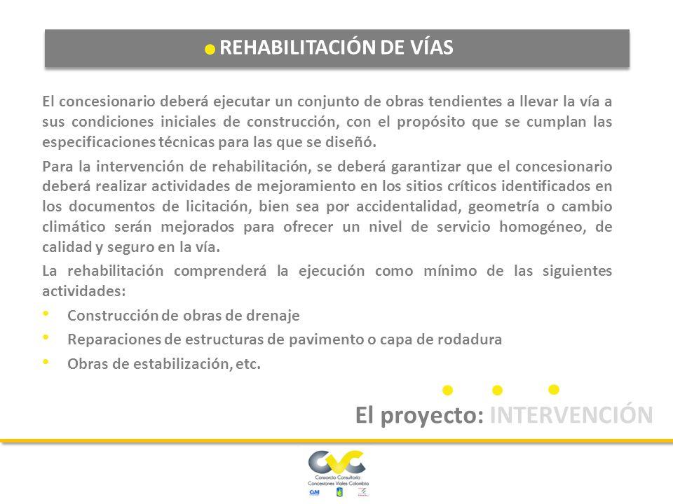 REHABILITACIÓN DE VÍAS El proyecto: INTERVENCIÓN