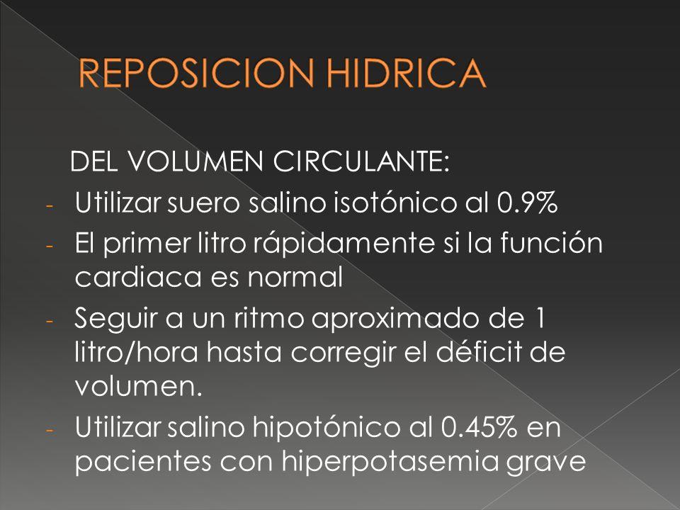 REPOSICION HIDRICA DEL VOLUMEN CIRCULANTE: